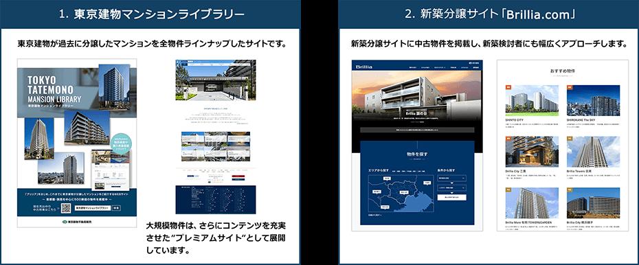 1.Brillia中古マンションカタログ 2.新築分譲サイト「Brillia.com」