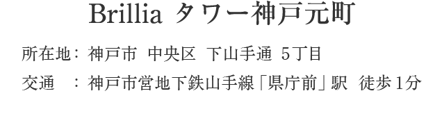 Brillia タワー神戸元町・神戸市中央区下山手通5丁目・「県庁前」駅 徒歩1分