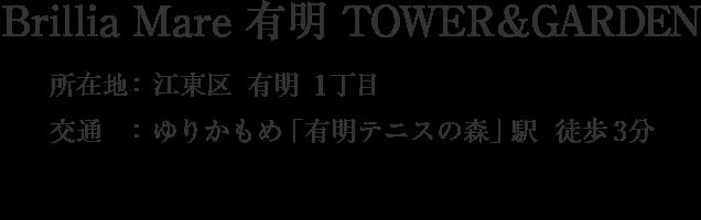 Brillia Mare 有明 TOWER&GARDEN・江東区有明1丁目・「有明テニスの森」駅 徒歩3分